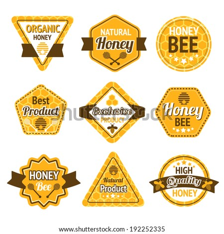 Honey best high quality organic products labels set isolated  illustration - stock photo