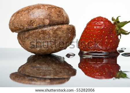 Honey cake and wet fresh strawberry