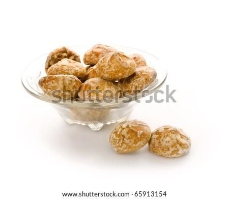 Honey-cakes on white - stock photo