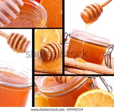 Honey collage - stock photo