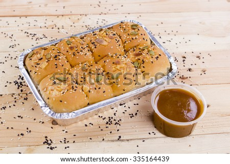 honey comb bread with sweet cream - stock photo