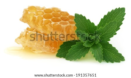 Honey comb with stevia over white background - stock photo