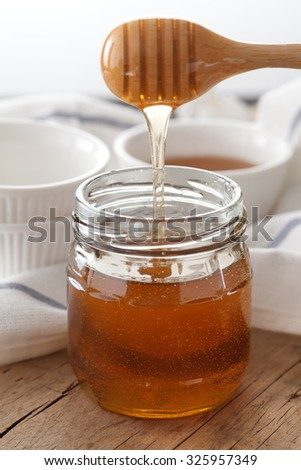 honey dipper delicious sweet healthy still life closeup golden dessert yummy freshness rustic background - stock photo