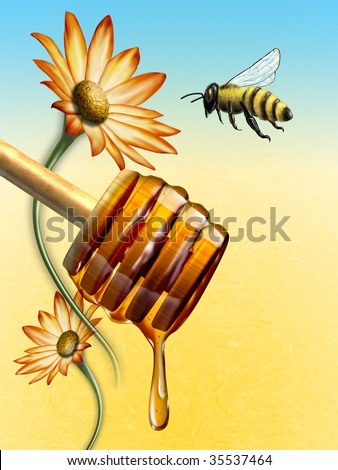 Honey dripping from an honey dipper. Bee and flower on background. Digital illustration. - stock photo