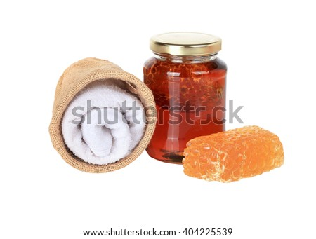 Honey from nature pollen flower and honey soap isolated on white background. This has clipping path. - stock photo