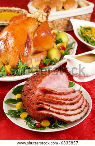 Honey glazed baked ham - stock photo
