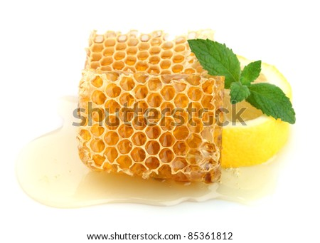 Honey honeycombs with lemon and mint - stock photo