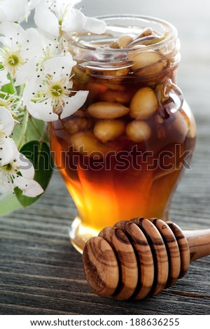 Honey in a jar with different nuts on a dark wooden table - stock photo