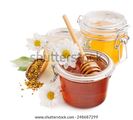 Honey in glass jars with flowers and pollen isolated on white background - stock photo