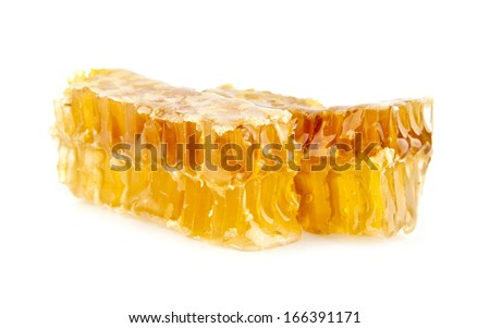 honey in honeycombs on a white background
