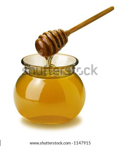 Honey isolated on white - stock photo