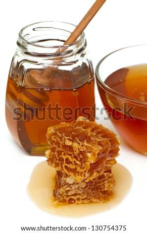 honey isolated on white background - stock photo
