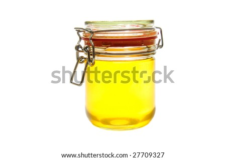 Honey jar isolated on the white background.