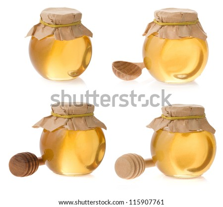 honey jar isolated on white background - stock photo