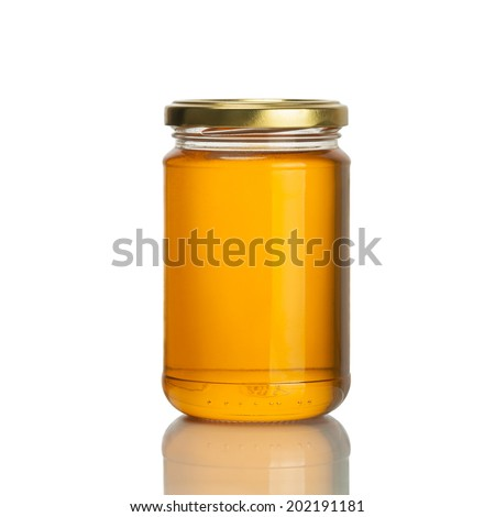 honey jar on white background