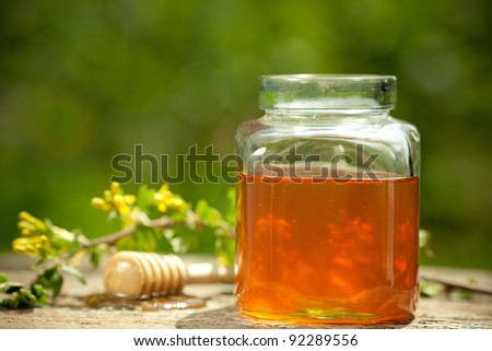 Honey jar, stick and flower honeysuckle on wooden table against spring natural green background