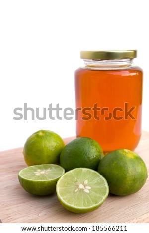 Honey lemon for sore throat - stock photo