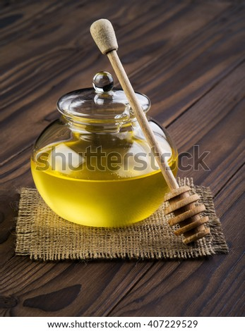 honey on a brown table