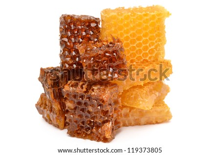 Honey on white background