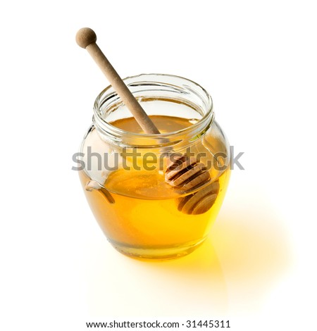 Honey on white background - stock photo