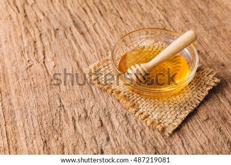 honey on wooden table