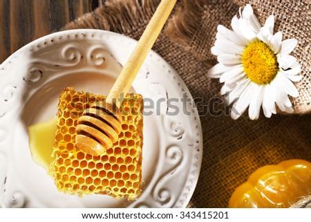 Honey products closeup - stock photo