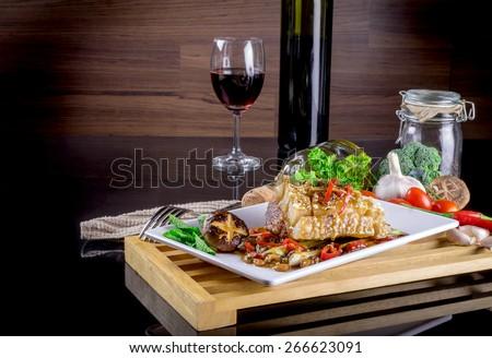 Honey roasted pork on dinner table. - stock photo