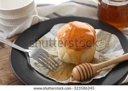 honey soft cheese cake sweet pastries dessert eating yummy bakery rustic still life closeup delicious rustic background - stock photo