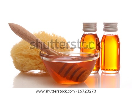 Honey spa isolated on white background - stock photo