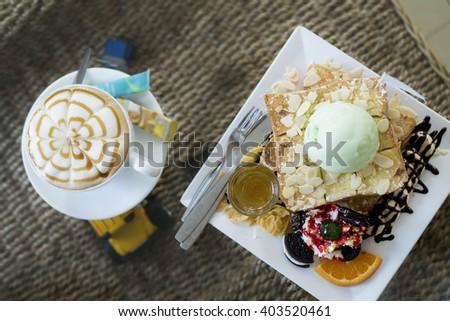 honey  toast and ice cream. - stock photo