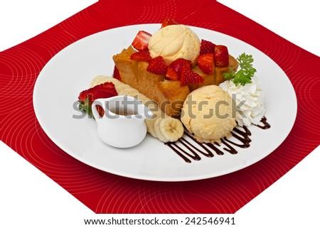 honey toast serve with ice-cream banana and strawberry fruit - stock photo