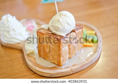 Honey toast with vanilla ice cream dessert - stock photo