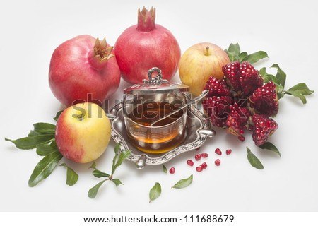 honey with apple for Rosh Hashana � jewish new year - stock photo