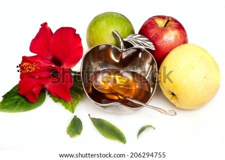 honey with apple for Rosh Hashana  jewish new year - stock photo