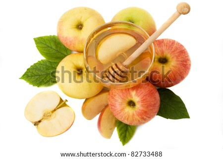 honey with apple for Rosh Hashanah – jewish new year - stock photo