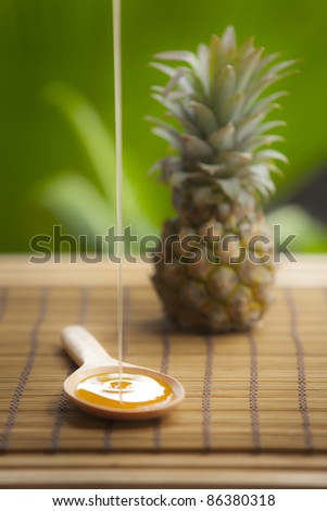 honey with pineapple for organic product - stock photo