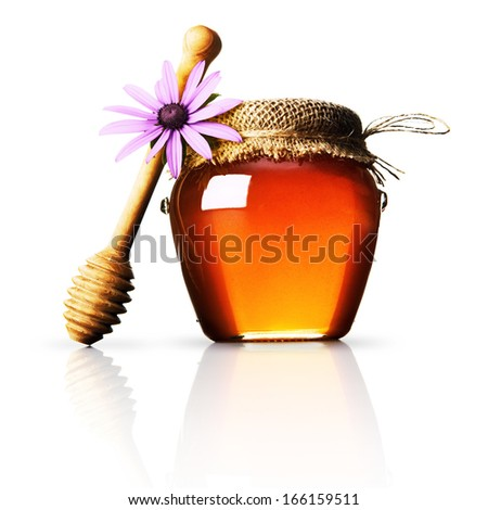 Honey with wooden stick - stock photo