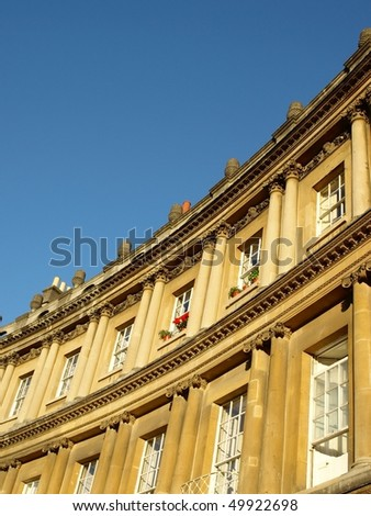 Honeycomb Coloured Limestone Town Houses of the Circus in Bath Somerset
