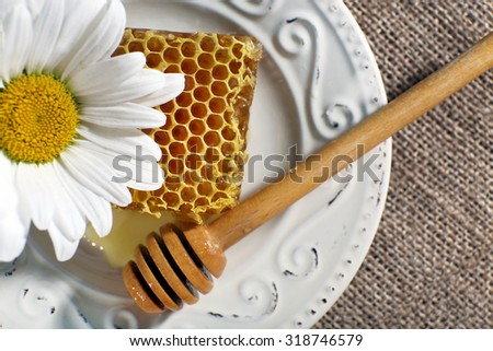 Honeycomb, dipper and chamomile on white plate on sacking background - stock photo