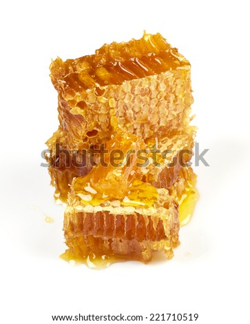 Honeycomb isolated on white background - stock photo