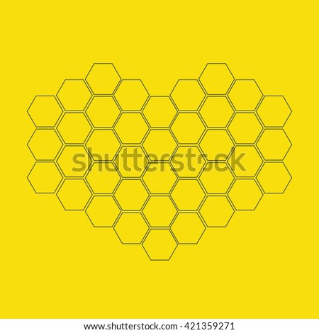 Honeycomb set in shape of heart. Beehive element. Honey icon. Isolated. Yellow background. Flat design. Flat design.