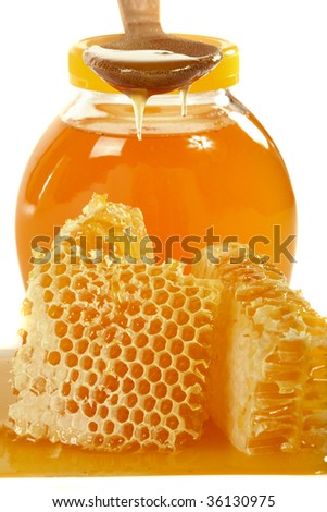 Honeycomb with natural  honey - stock photo
