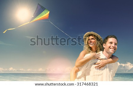Honeymoon Couple Happiness Summer Beach Concept - stock photo