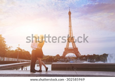 honeymoon in Paris, romantic vacations for loving couple in France - stock photo