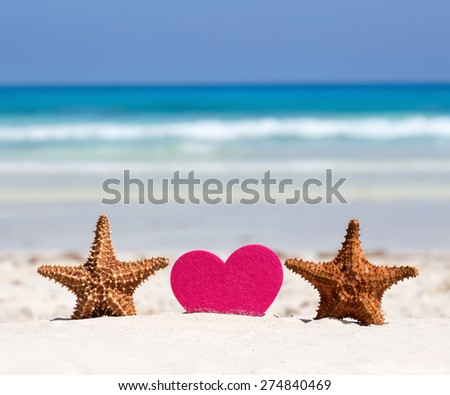 Honeymoon on caribbean beach, travel concept