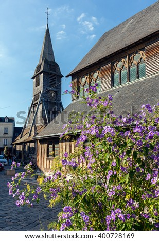 Honfleur, Normandy; the historical wooden Church - stock photo