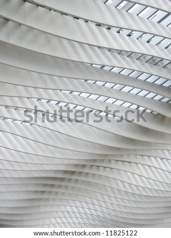 Hong Hong terminal's curved roof design - stock photo
