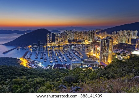 hong kong aberdeen area sunset - stock photo