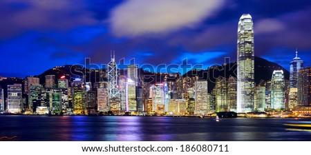 Hong Kong and victoria harbour at night - stock photo
