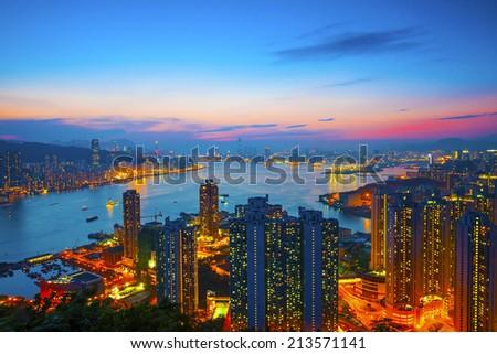 Hong Kong apartments at sunset - stock photo